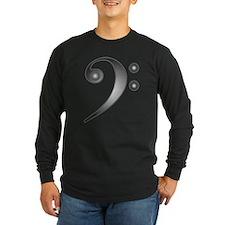 BassClefSilver2Blk Long Sleeve T-Shirt