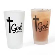 God Loves Me Drinking Glass