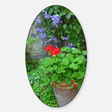 Clematis and geranium garden Sticker (Oval)