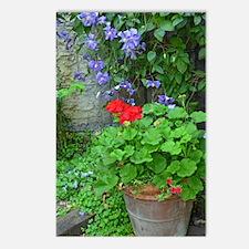 Clematis and geranium gar Postcards (Package of 8)