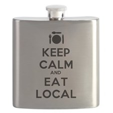 Keep Calm and Eat Local Flask