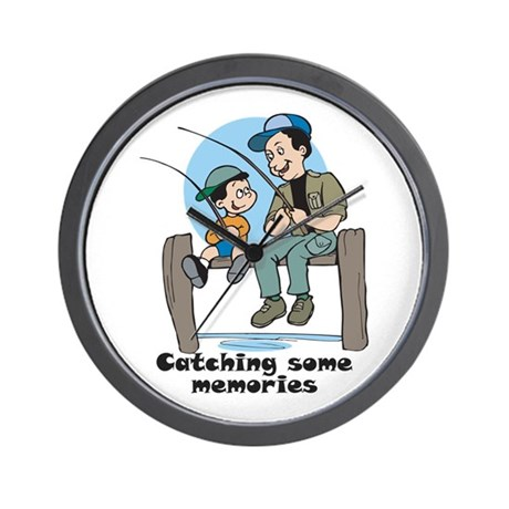 Gifts for dad fishing memories Wall Clock