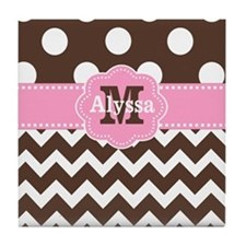 Brown Pink Chevron Dots Personalized Tile Coaster