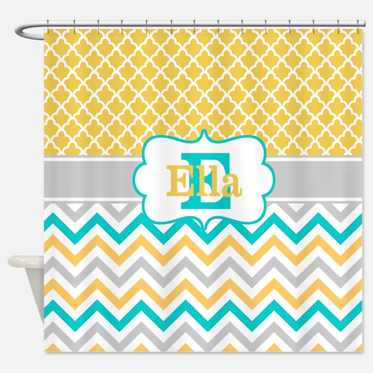 Chevron Teal And Yellow Bathroom Accessories Decor