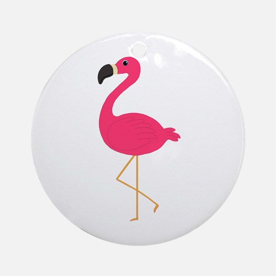 Cute Pink Flamingo Ornament (Round)