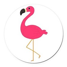 Cute Pink Flamingo Round Car Magnet
