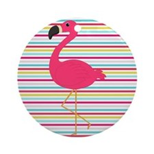 Pink Flamingo on Stripes Ornament (Round)