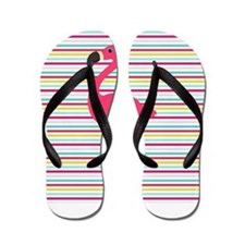 Pink Flamingo on Stripes Flip Flops