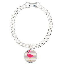 Pink Flamingo on Stripes Bracelet