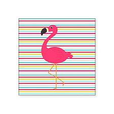 Pink Flamingo on Stripes Sticker