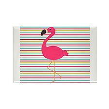 Pink Flamingo on Stripes Magnets