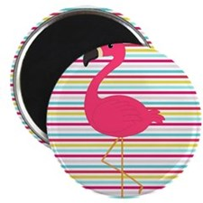 Pink Flamingo on Stripes Magnets