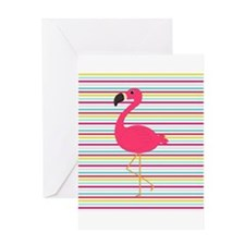 Pink Flamingo on Stripes Greeting Cards