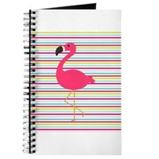 Pink Flamingo on Stripes Journal