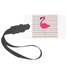 Pink Flamingo on Stripes Luggage Tag