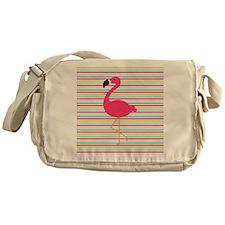 Pink Flamingo on Stripes Messenger Bag