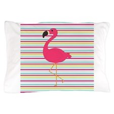 Pink Flamingo on Stripes Pillow Case