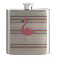 Pink Flamingo on Stripes Flask