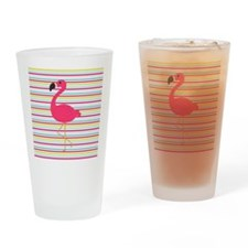Pink Flamingo on Stripes Drinking Glass