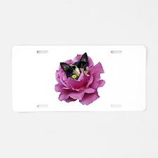 Rose Cat Aluminum License Plate