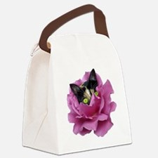 Rose Cat Canvas Lunch Bag