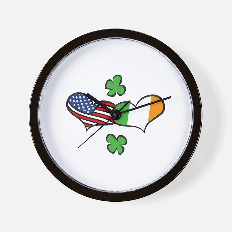 American Irish Hearts Wall Clock