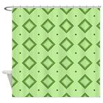 Green Diamond Pattern Shower Curtain