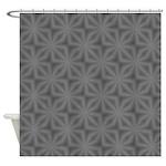 Grey Flower Pattern Shower Curtains