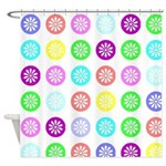 Colorful Polka Dot Flower Pattern Shower Curtains