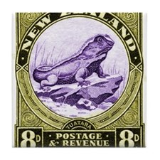 Antique 1935 New Zealand Tuatara Lizard Stamp Tile