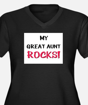 My GREAT AUNT ROCKS! Women's Plus Size V-Neck Dark
