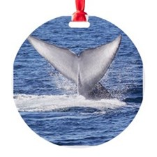 Majestic Blue Whale Flukes Round Ornament