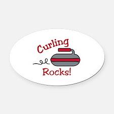Curling Rocks Oval Car Magnet