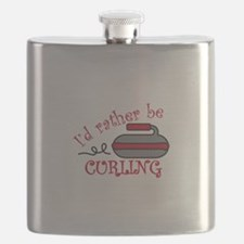 Rather Be Curling Flask