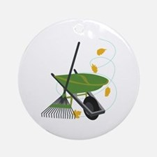 Wheelbarrow & Rake Ornament (Round)