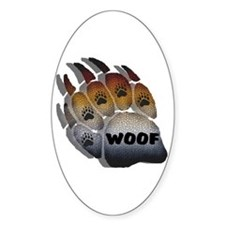 wOOF FURRY BEAR PRIDE PAW Oval Decal