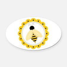 Bumble Bee Circle Oval Car Magnet