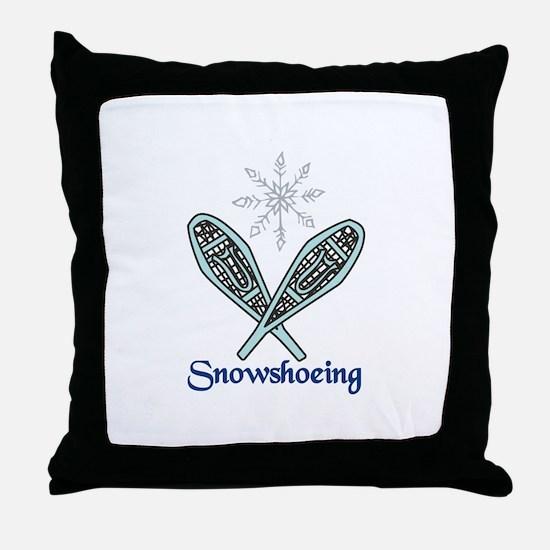 Snowshoeing Throw Pillow