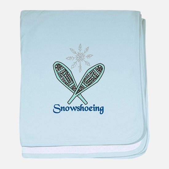Snowshoeing baby blanket