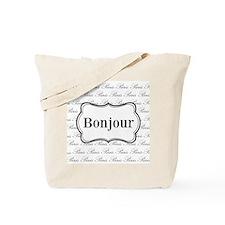 Bonjour Paris Black and White Tote Bag