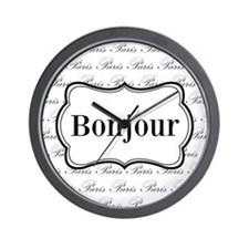 Bonjour Paris Black and White Wall Clock