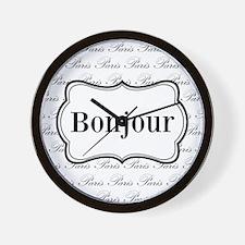 Bonjour Paris Black and White Wall Clock