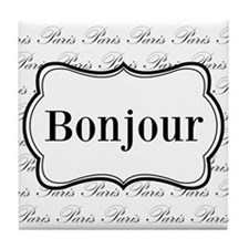 Bonjour Paris Black and White Tile Coaster