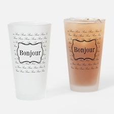 Bonjour Paris Black and White Drinking Glass