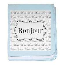 Bonjour Paris Black and White baby blanket