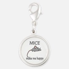 Mice Happy Silver Round Charm