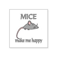 "Mice Happy Square Sticker 3"" x 3"""