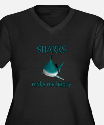 Shark Happy Women's Plus Size V-Neck Dark T-Shirt