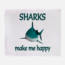 Shark Happy Throw Blanket
