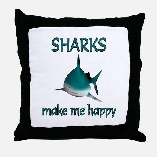 Shark Happy Throw Pillow